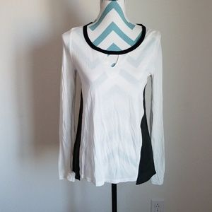 NWT Aiko Black and White leather & silk top